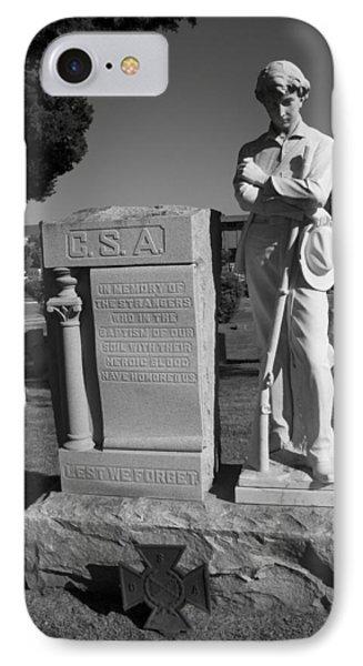 Confederate Soldier Memorial Phone Case by Kathy Clark
