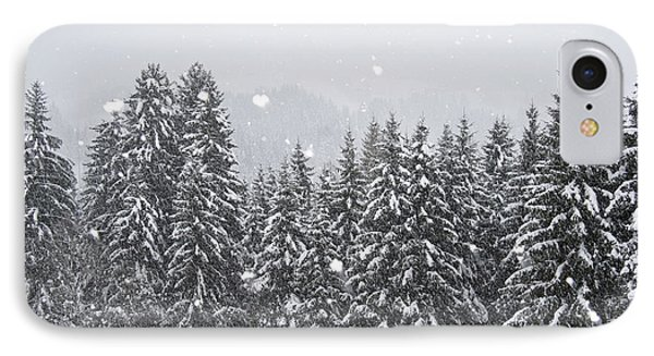 Coniferous Forest In Winter, Alps Phone Case by Konrad Wothe