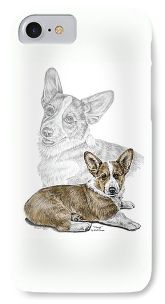 IPhone Case featuring the drawing Corgi Dog Art Print Color Tinted by Kelli Swan