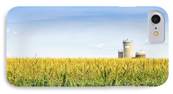 Corn Field With Silos IPhone Case by Elena Elisseeva