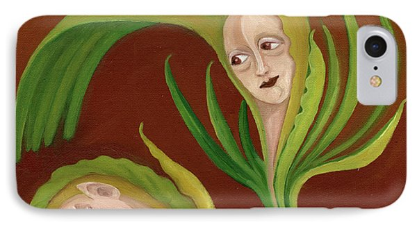 Corn Love Fantastic Realism Faces In Green Corn Leaves Sleeping Or Dead Loving Or Mourning Gree IPhone Case by Rachel Hershkovitz