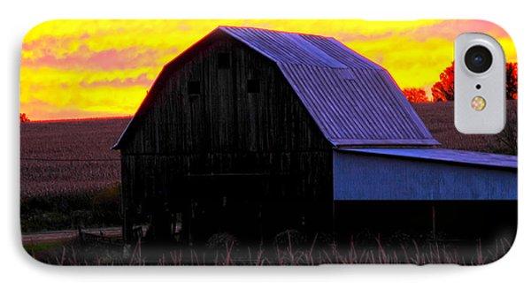 IPhone Case featuring the photograph Cornfield Barn Sky by Randall Branham