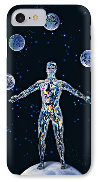 Cosmic Man Juggling Worlds, Artwork Phone Case by Paul Biddle