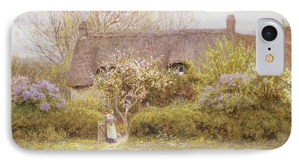 Cottage Freshwater Isle Of Wight IPhone Case by Helen Allingham
