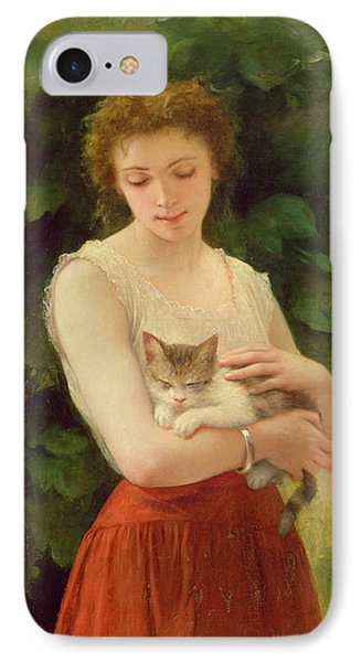 Country Girl And Her Kitten IPhone Case by Charles Landelle