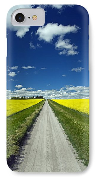 Country Road With Blooming Canola Phone Case by Dave Reede