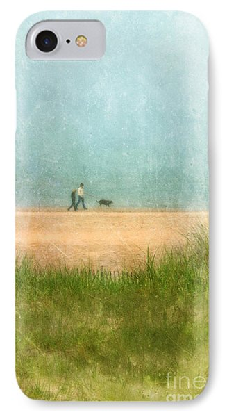 Couple On Beach With Dog Phone Case by Jill Battaglia