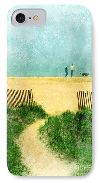 Couple Walking Dog On Beach Phone Case by Jill Battaglia