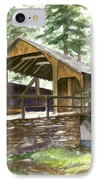 IPhone Case featuring the painting Covered Bridge At Knoebels  by Nancy Patterson
