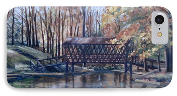Covered Bridge At Lake Roaming Rock Phone Case by Donna Tuten