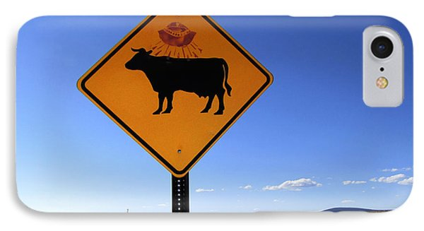 Cow Ufo Road Sign  IPhone Case