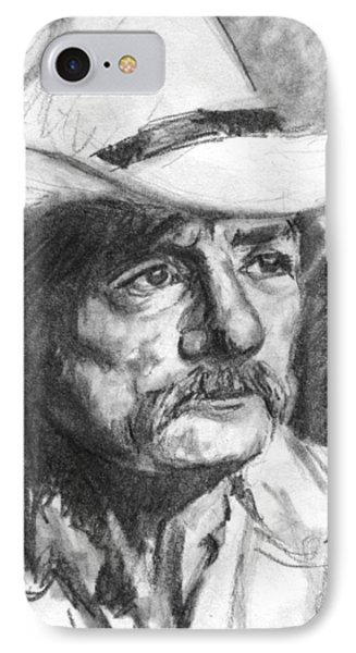 Cowboy In Hat Sketch Phone Case by Kate Sumners