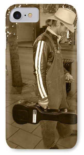 IPhone Case featuring the photograph Cowboy Musician On Streets by Kym Backland