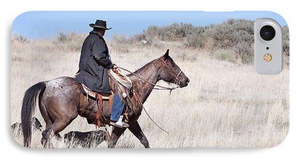 Cowboy On Horseback Phone Case by Cindy Singleton