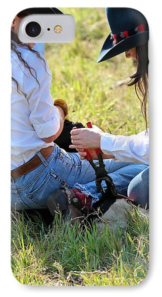 Cowgirls At Work Phone Case by Elizabeth Hart