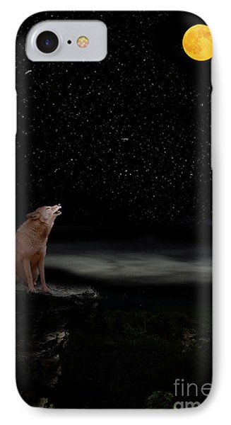 IPhone Case featuring the photograph Coyote Howling At Moon by Dan Friend