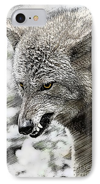 Coyote Snarling Phone Case by Dan Friend