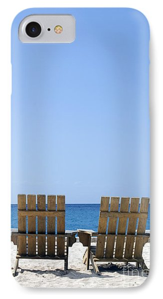IPhone Case featuring the photograph Cozumel Mexico Beach Chairs And Blue Skies by Shawn O'Brien