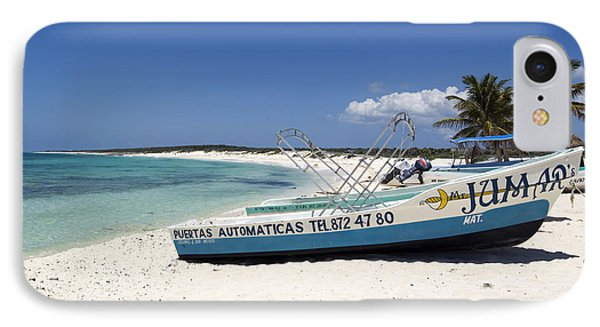 IPhone Case featuring the photograph Cozumel Mexico Fishing Boats On White Sand Beach by Shawn O'Brien