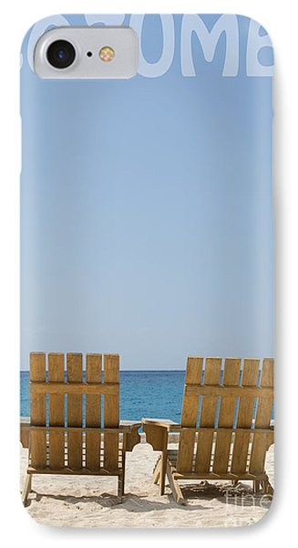 IPhone Case featuring the photograph Cozumel Mexico Poster Design Beach Chairs And Blue Skies by Shawn O'Brien