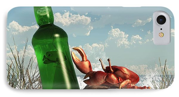 Crab With Bottle On The Beach Phone Case by Daniel Eskridge