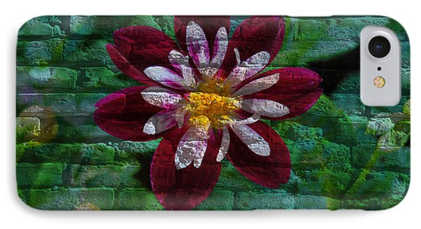 Crazy Flower Over Brick IPhone Case by Eric Liller