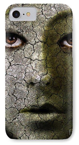 Creepy Cracked Face With Tears Phone Case by Jill Battaglia