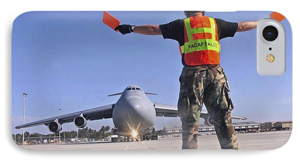 Crew Chief Marshals A C-5 Galaxy Phone Case by Stocktrek Images