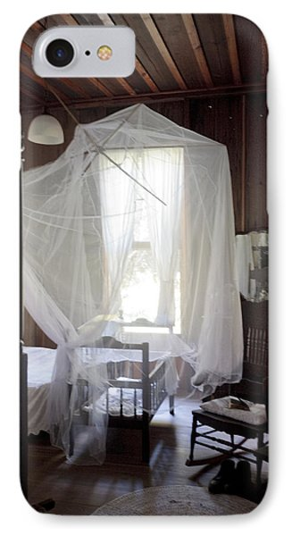 Crib With Mosquito Netting In A Florida Cracker Farmhouse Phone Case by Lynn Palmer