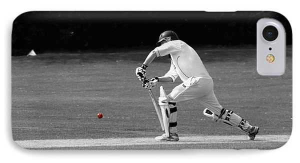 Cricketer In Black And White With Red Ball IPhone Case
