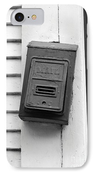 Crooked Old Fashioned Metal Green Mailbox French Quarter New Orleans Black And White Phone Case by Shawn O'Brien