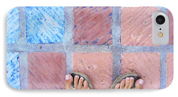 Cross-legged On A Colorful Sidewalk IPhone Case by Anne Mott