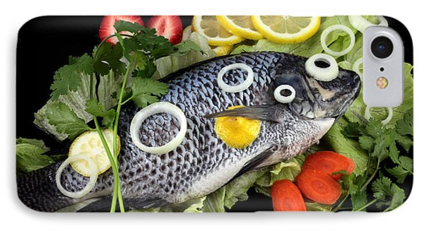 Crucian Fish With Vegetable Phone Case by Paul Ge