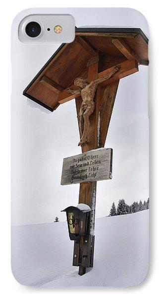 Crucifix In Winter Landscape IPhone Case