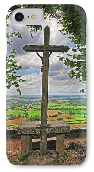 IPhone Case featuring the photograph Crucifix Overlooking The French Countryside by Dave Mills