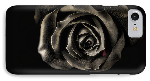 Crying Black Rose IPhone Case by Danuta Bennett