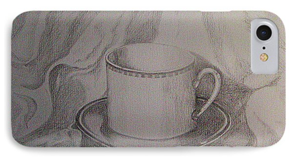 IPhone Case featuring the drawing Cup And Saucer On Material by Roena King