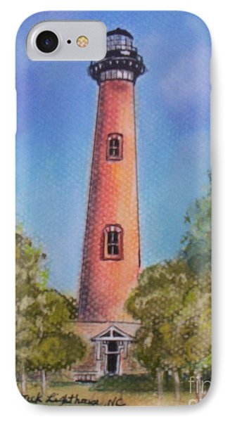 IPhone Case featuring the pastel Currituck Lighthouse Nc by Julie Brugh Riffey