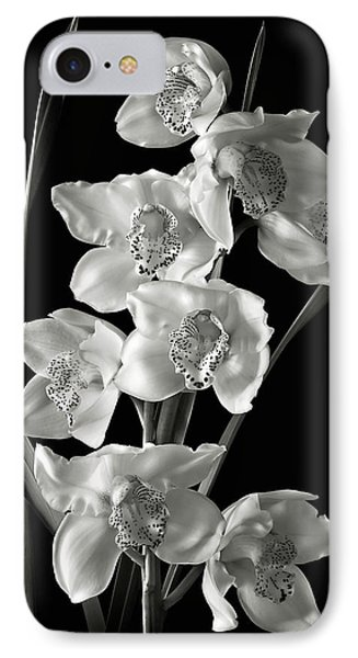 IPhone Case featuring the photograph Cymbidium Cluster In Black And White by Endre Balogh