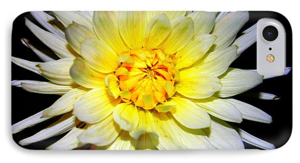IPhone Case featuring the photograph Dahlia In White And Yellow by Laurel Talabere