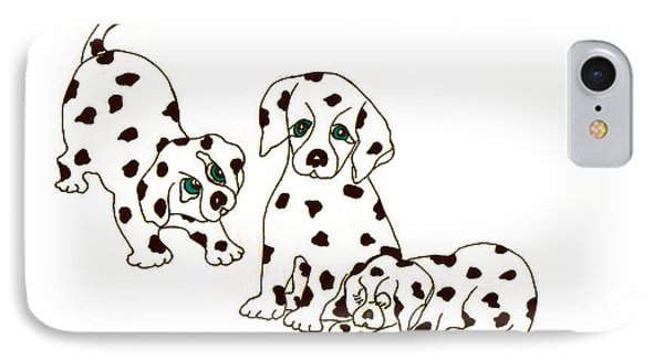 Dalmatian Puppies IPhone Case by Rachel Lowry