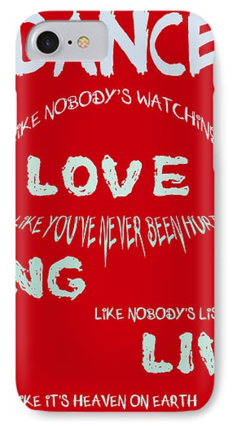 Dance Like Nobody's Watching - Red Phone Case by Georgia Fowler