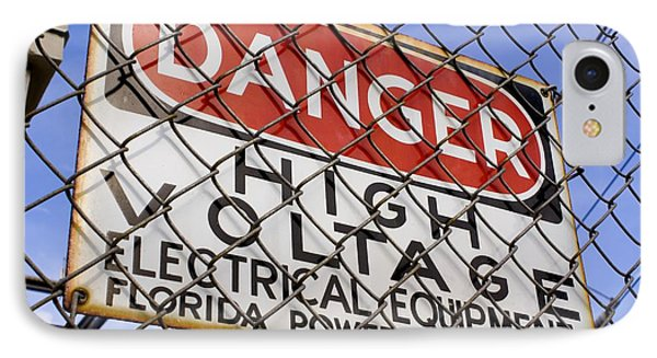Danger High Voltage Sign In Cocoa Florida IPhone Case by Mark Williamson