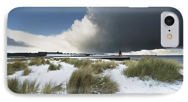 Dark Clouds And Blue Sky Over A Red Phone Case by John Short