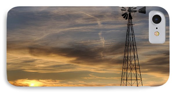 Dark Sunset With Windmill IPhone Case by Art Whitton