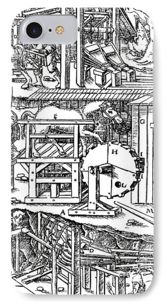 De Re Metallica, Ventilation Of Mines Phone Case by Science Source