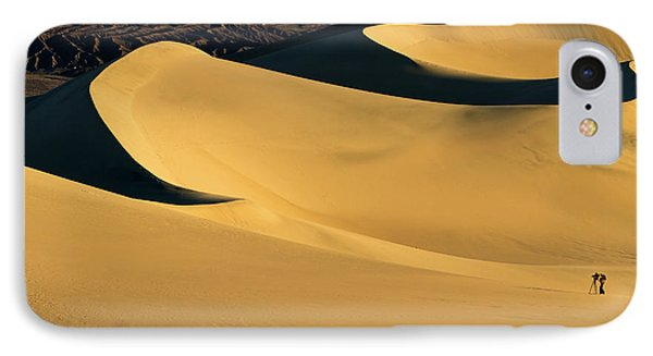 Death Valley And Photographer In Morning Sun IPhone Case by William Lee