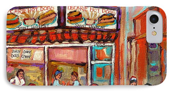 Decarie Hot Dog Montreal Restaurant Paintings Ville St Laurent Streets Of Montreal Paintings Phone Case by Carole Spandau
