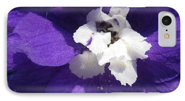 IPhone Case featuring the photograph Delphinium Named Blue With White Bee by J McCombie