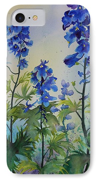 Delphiniums IPhone Case by Ruth Kamenev